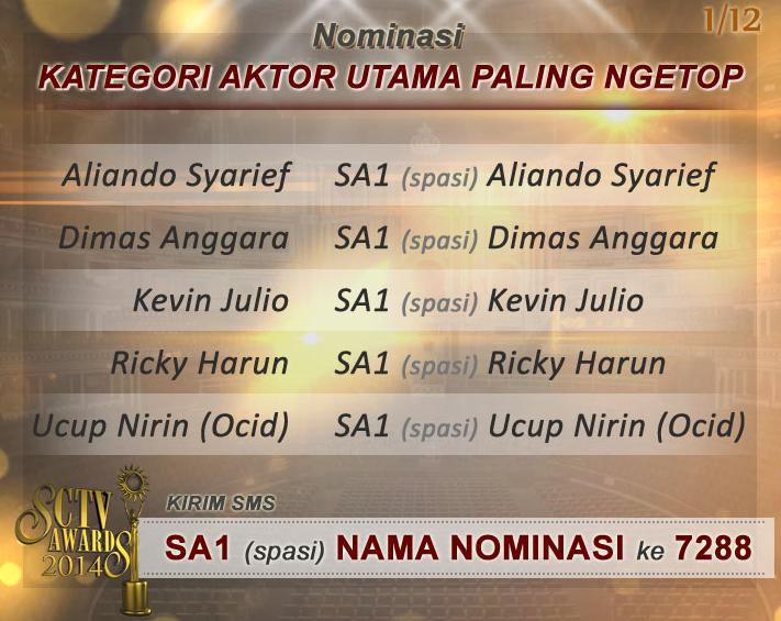 Kategori dan Nominasi SCTV Awards 2014 (1/6)